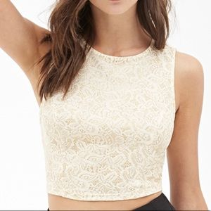 Forever 21 cream with gold glitter crop top